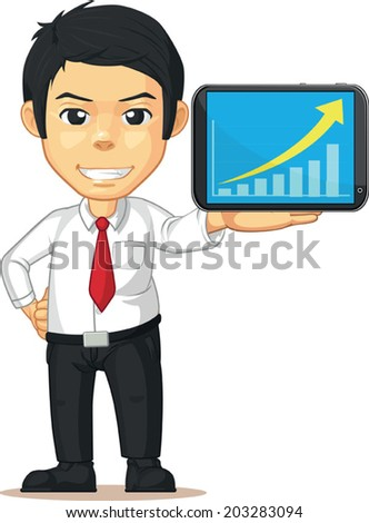 Man with Increasing Graph or Chart on Tablet - stock vector