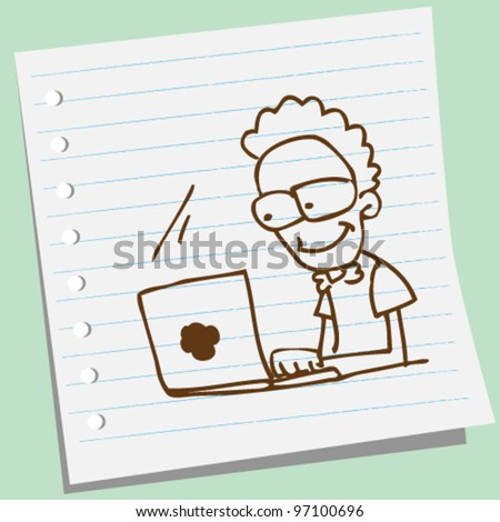 man with laptop doodle illustration - stock vector