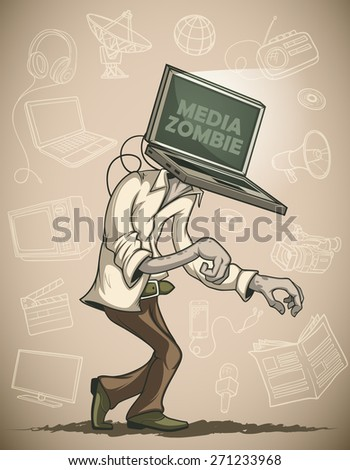 Man with laptop media zombies instead of the head.  Against the background of the objects associated with the mass media