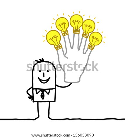 man with lot of ideas and energy - stock vector