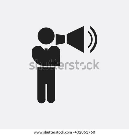 Man with megaphone Icon, Man with megaphone Icon Eps10, Man with megaphone Icon Vector, Man with megaphone Icon Eps, Man with megaphone Icon Jpg, Man with megaphone Icon, Man with megaphone Icon Flat - stock vector