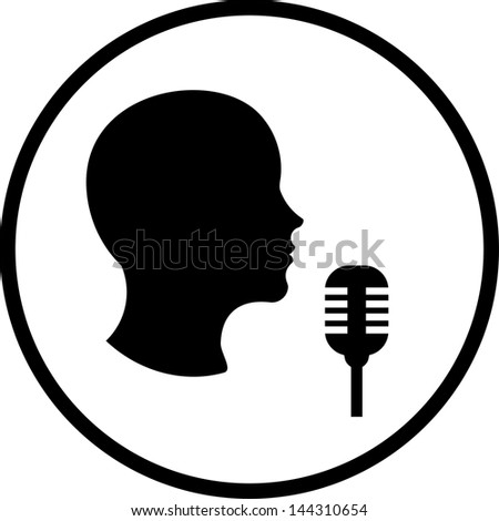 Man with microphone Vector icon isolated - stock vector