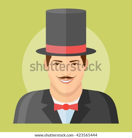 Man with mustache in top hat flat icon. Magician vector illustration. Male character. - stock vector