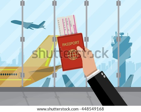 Man with passport and boarding pass waiting flight inside of airport with a plane, control tower, cityscape in background. Travel, vacation, Business trip concept. Vector illustration in flat design. - stock vector