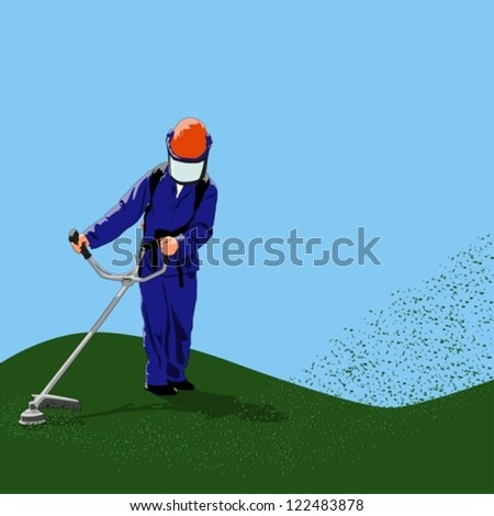 Man with power tool mowing grass - stock vector