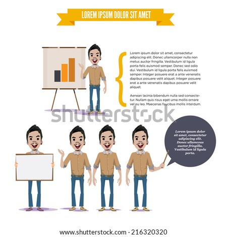 man with presenting board. graph chart in paperboard. character concept - vector illustration  - stock vector