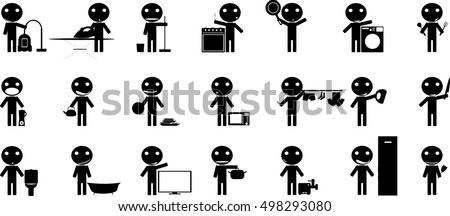 Man with Random Objects Stick Figure Pictogram Icons Cleaning Washing Wiping Sweeping Vacuum Cleaner Worker Pictogram Icon Symbol Sign
