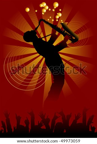Man with saxophone on a red-yellow background; - stock vector