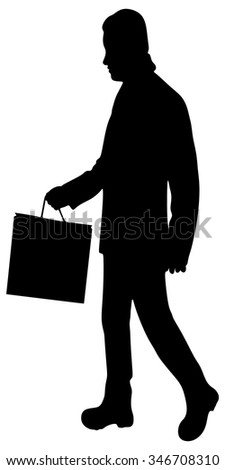 Man with shopping bag on white - stock vector