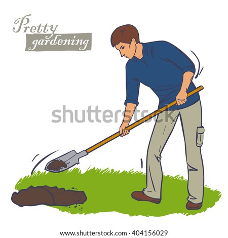 Man Shovel Digging Hole Illustration Man Stock Vector ...
