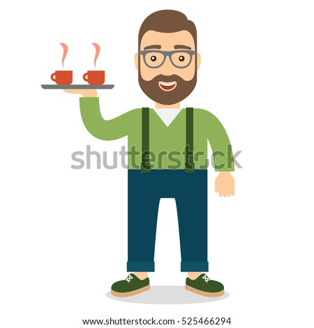 Man with smile on his face holding a tray with two cups of hot coffee or tea.