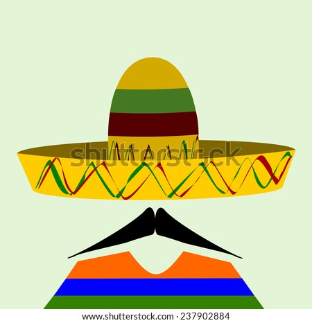 man with sombrero and a sharp waxed mustache - stock vector