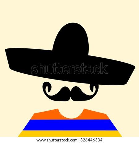 man with sombrero and handlebar mustache - stock vector
