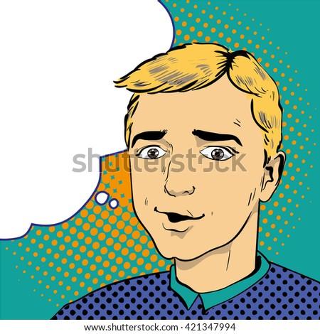 Man with speech bubble. Vector illustration in comics retro pop art style. - stock vector