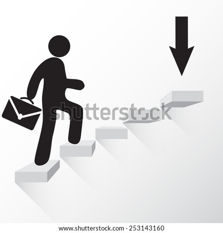 Man with suitcase walking towards the goal stairs vector - stock vector