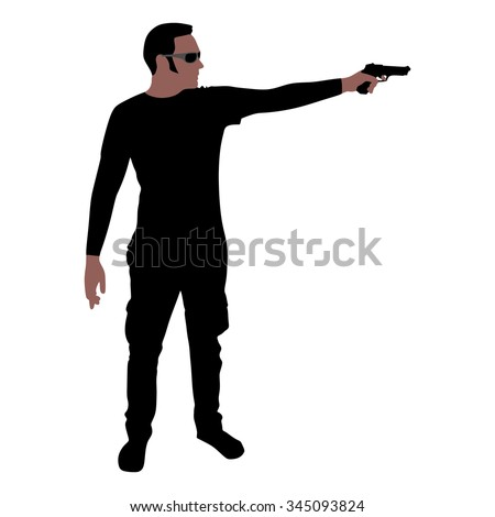 Man with sunglasses holding gun, vector