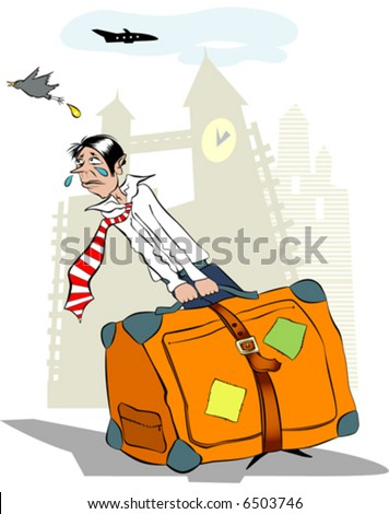 Man with the luggage, who did not have time to the aircraft. - stock vector