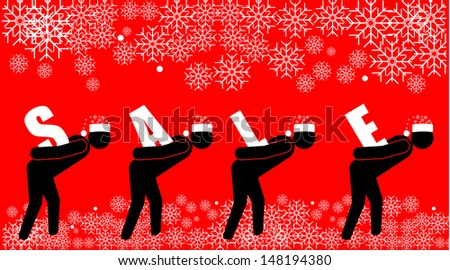 Man with the Sale - stock vector