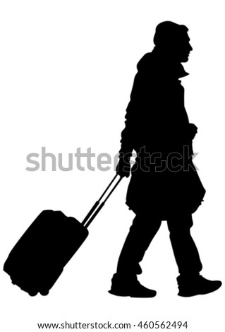 Man with travel big suitcases on white background - stock vector