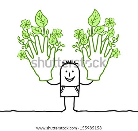 man with two big green hands - stock vector