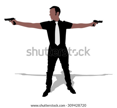 Man with two guns, vector