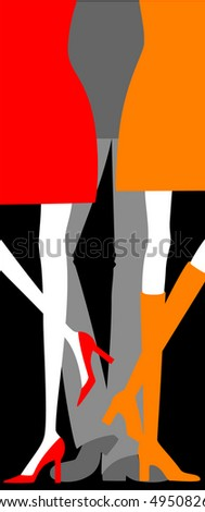 man with two women(silhouette, vector)