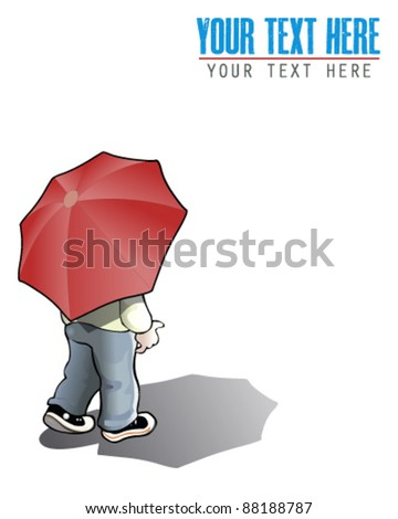 Man with umbrella - stock vector