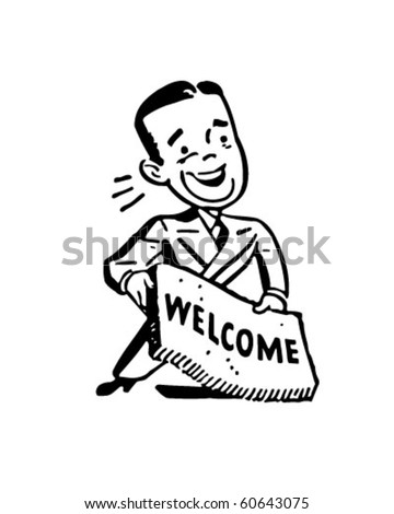 Man With Welcome Mat - Retro Clip Art - stock vector