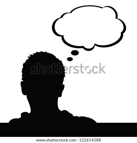man with white cloud for text vector silhouette