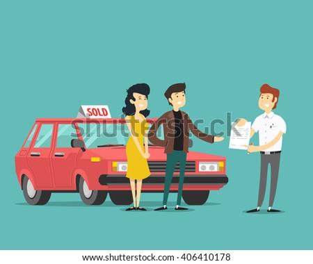 man, woman and car dealer. Vector illustration. - stock vector