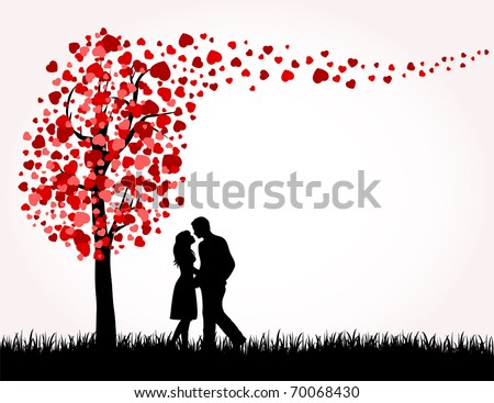 Man, Woman and Love tree with hearts on a grass, illustration - stock vector