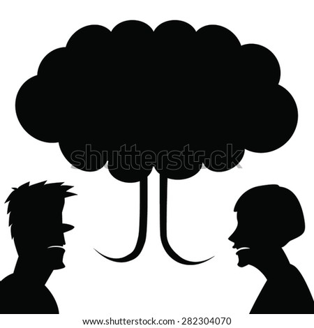 Man, woman and mushroom cloud of their talk. Concept illustration of Divorce, Disappointment, Arguing. Two angry people vector silhouettes with speech bubble. Black on white. - stock vector
