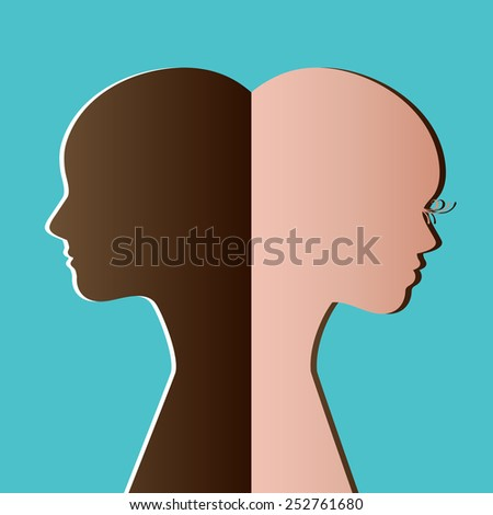 Man Woman back to back - separate elements - many concepts - inter-racial, ,equality,transition - stock vector