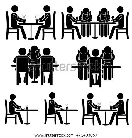 Man / Woman / Couple / Group of People Sitting in Cafe / Restaurant, Having Lunch, Talking. Stick Figure Vector Pictogram Icon