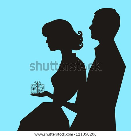 man woman gift (all separate elements) - stock vector