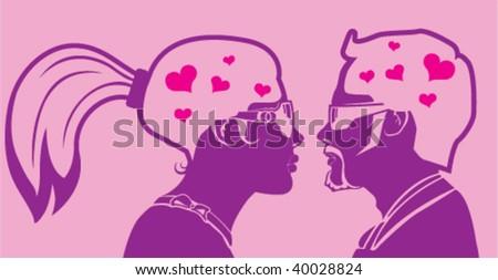 Man woman Love inside their Mind - stock vector
