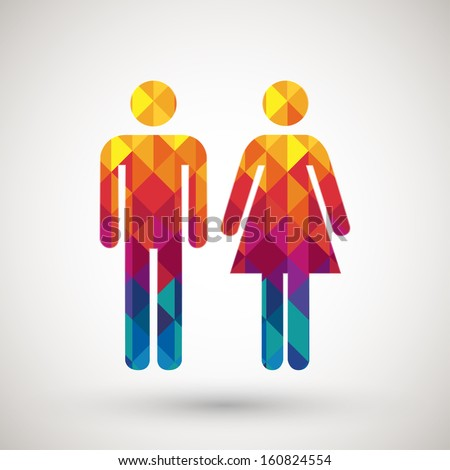 man & woman restroom sign with colorful diamond, vector illustration. - stock vector