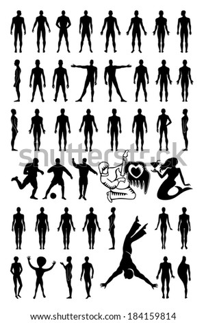 Man woman set silhouettes isolated on white (vector). EPS8 file available. - stock vector