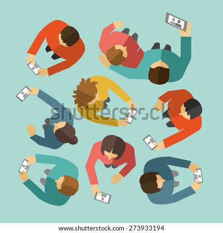 Man Woman taking a selfie photo with Smartphone Flat Design - stock vector