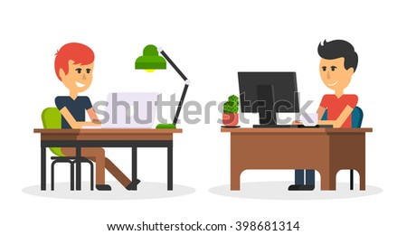 Man work with computer laptop design flat. Computer and business man worker, man in office desk, businessman person at table workplace, character work manager vector illustration - stock vector