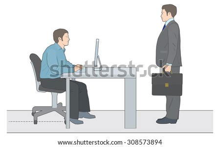 Man working at computer with client or representative - stock vector