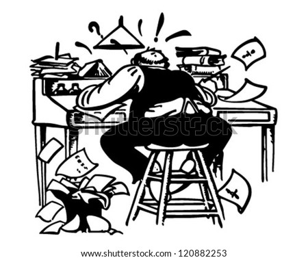 Man Working Madly At Desk - Retro Clipart Illustration