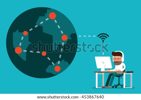 Man working on computer, connect the world.
