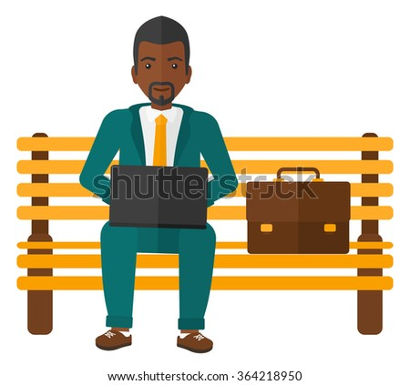 Man working on laptop. - stock vector
