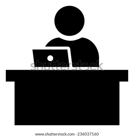 Man working on laptop icon - stock vector