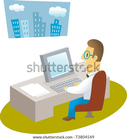man working with computer /confident businessman working with computer - stock vector
