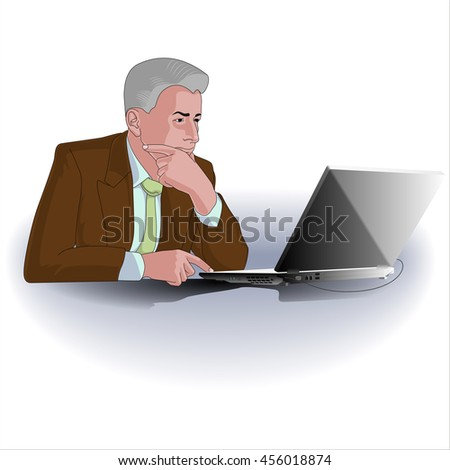 Man Working with Laptop Computer. Man in brown jacket. Vector illustration.  - stock vector