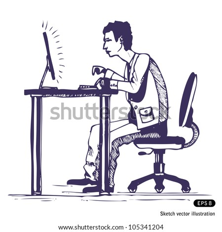 Man works hard on the computer. Hand drawn sketch illustration isolated on white background - stock vector