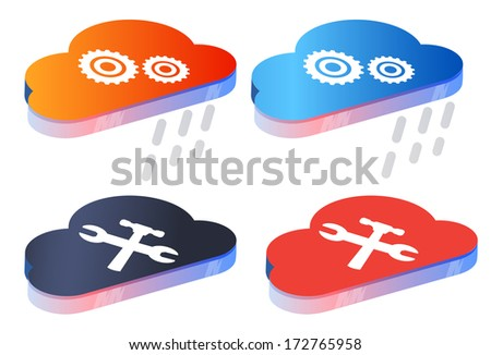 Manage Cloud Data Storage Services - Illustration - stock vector