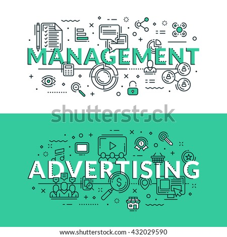 Management and advertising related icons. Colored flat vector illustration in seagreen and white colors - stock vector